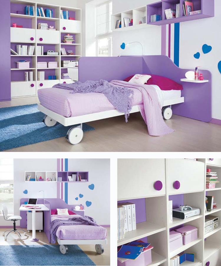 Arredamento cameretta per bambina colore bianca e lilla for Cameretta bambina