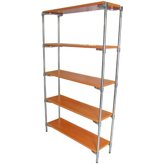 Libreria in struttura cromata e piani in legno (rovere, acero, grigio ...